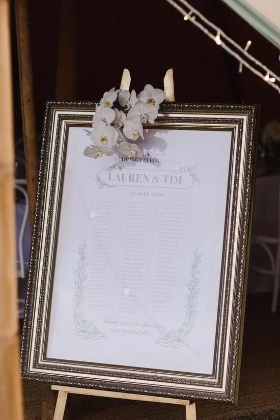 Seating Chart in Champagne Frame with Double Off White Matte, A1, Wedding Decor Hire