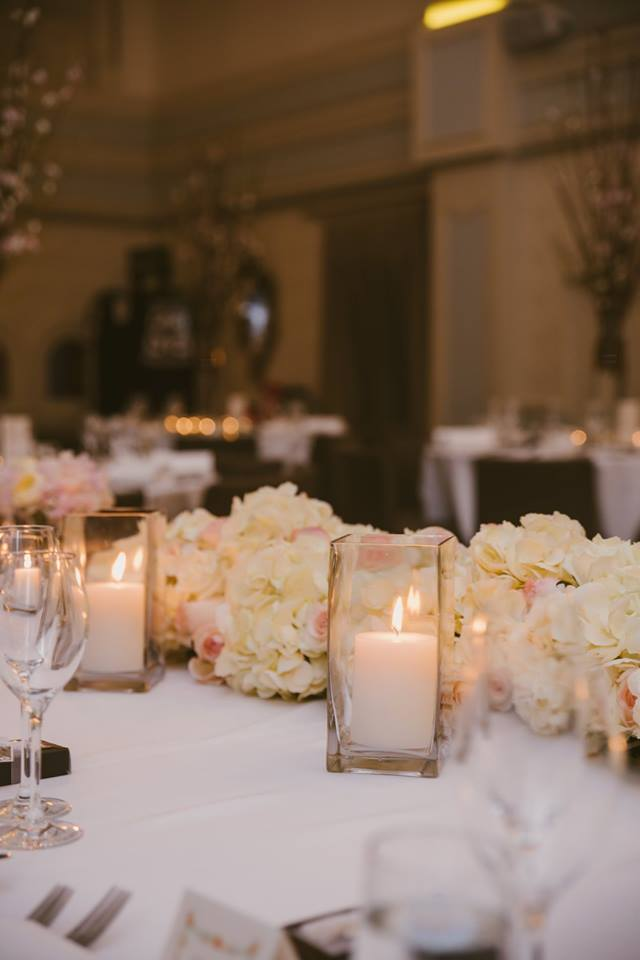 Square Vases & Candles in Small, Medium and Large, Wedding Decor Hire