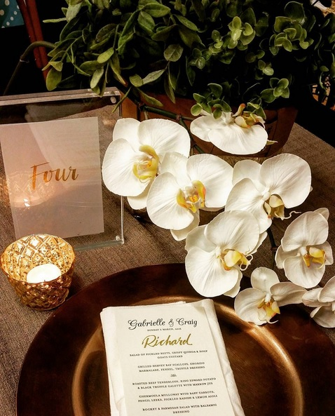 Gold Calligraphy Table Numbers