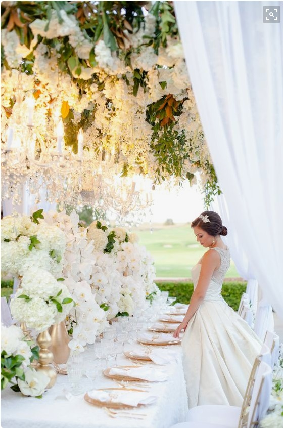 Tablescape with hydrangea orchids and chandeliers.