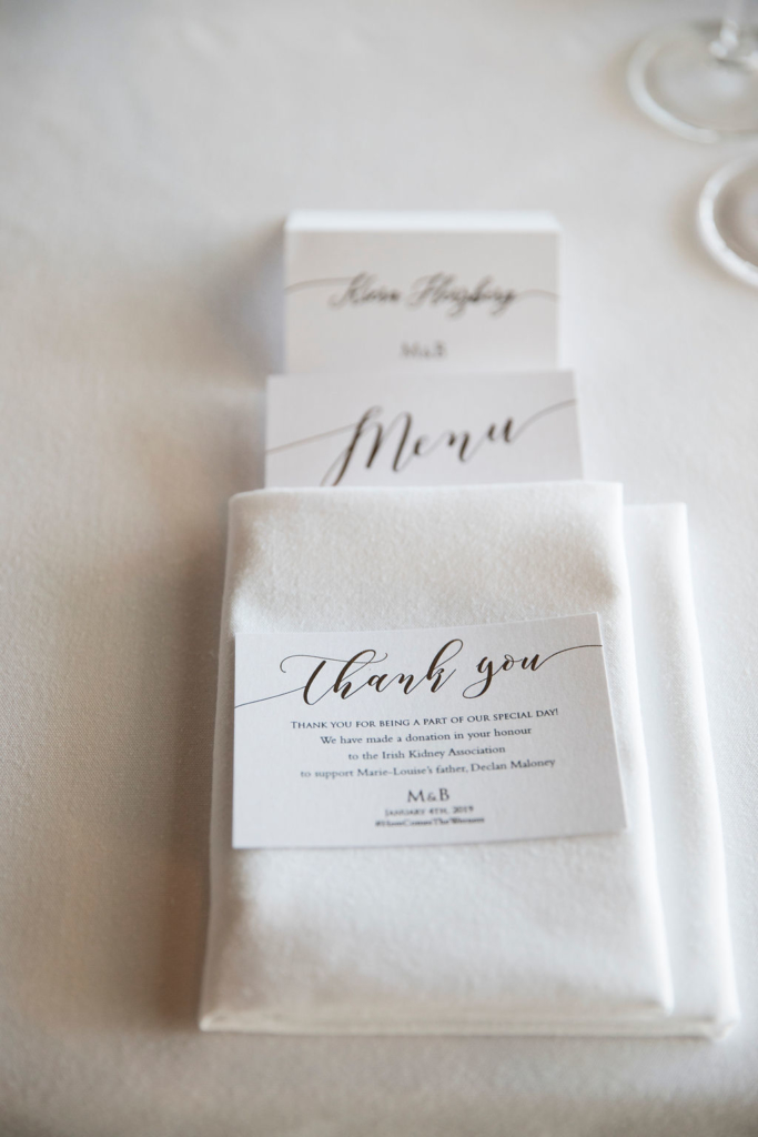 Gold Foiled Menu, Place Card and Bonbonniere Card. Image Blumenthal Photography.