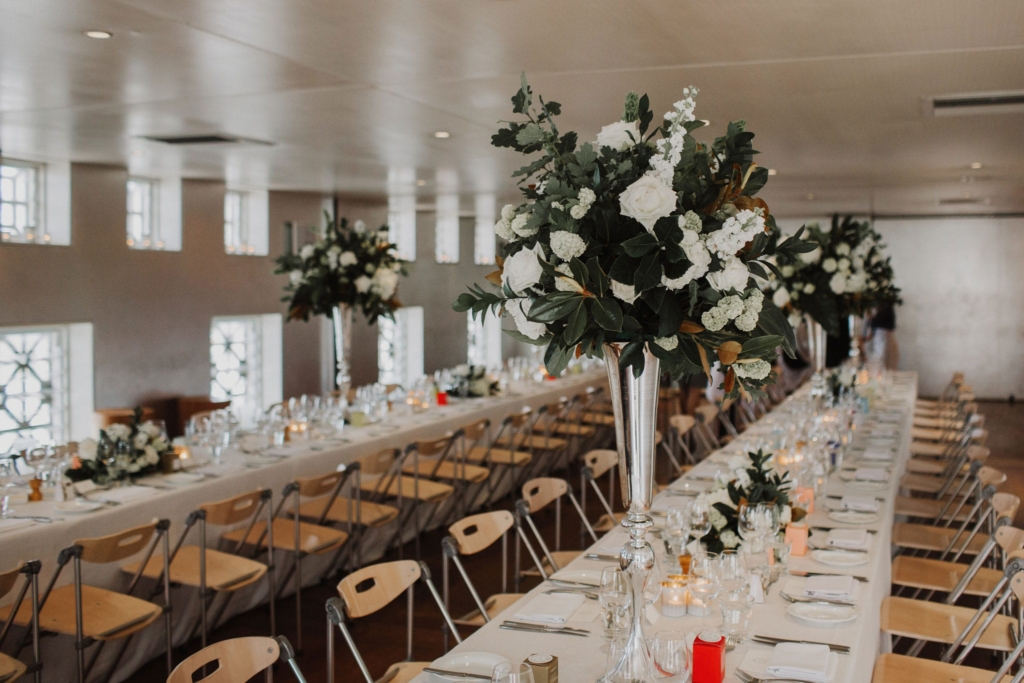 Beautiful silver leaf adorn the walls of this airy space. Wedding ready at The Bathers' Pavilion. Image I Love Wednesdays.