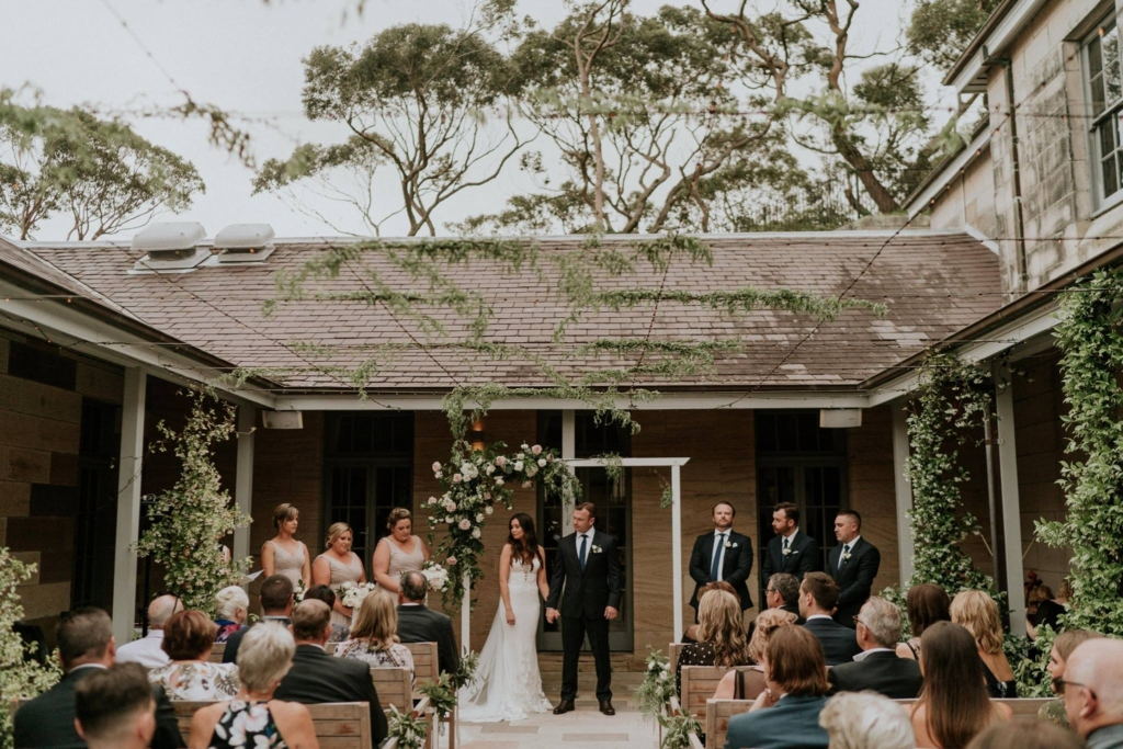 Wedding Ceremony inside the Sandstone Courtyard at Gunners